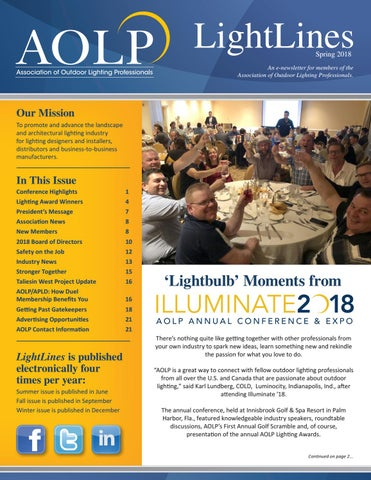 aolp lightlines 2018 spring issue by association of outdoor lighting