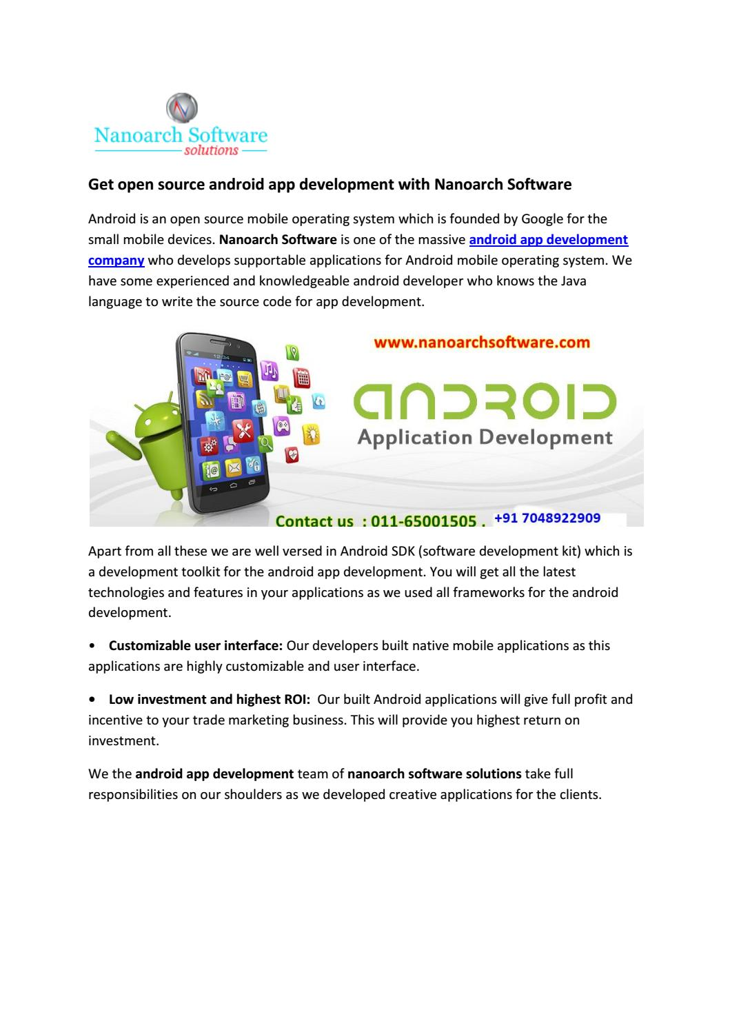 Get open source android app development with Nanoarch