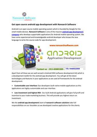 Get open source android app development with Nanoarch Software by