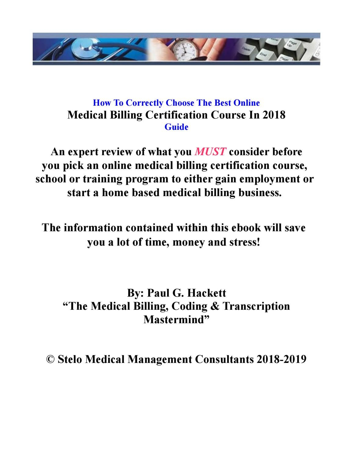 Medical Billing Online Courses Review 2018 By Paul G Hackett Issuu