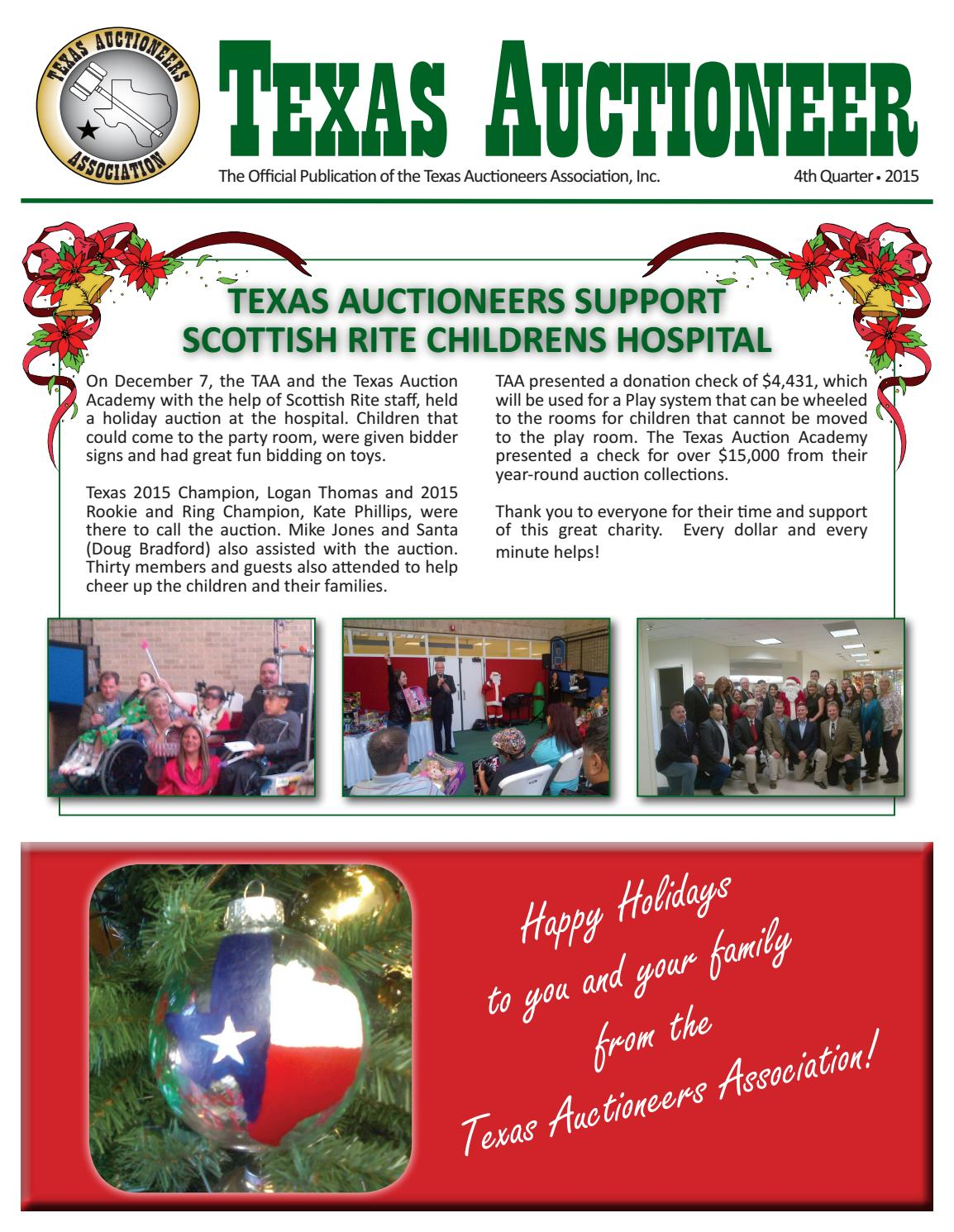 2015 4th qtr newsletter taa final by Texas Auctioneers