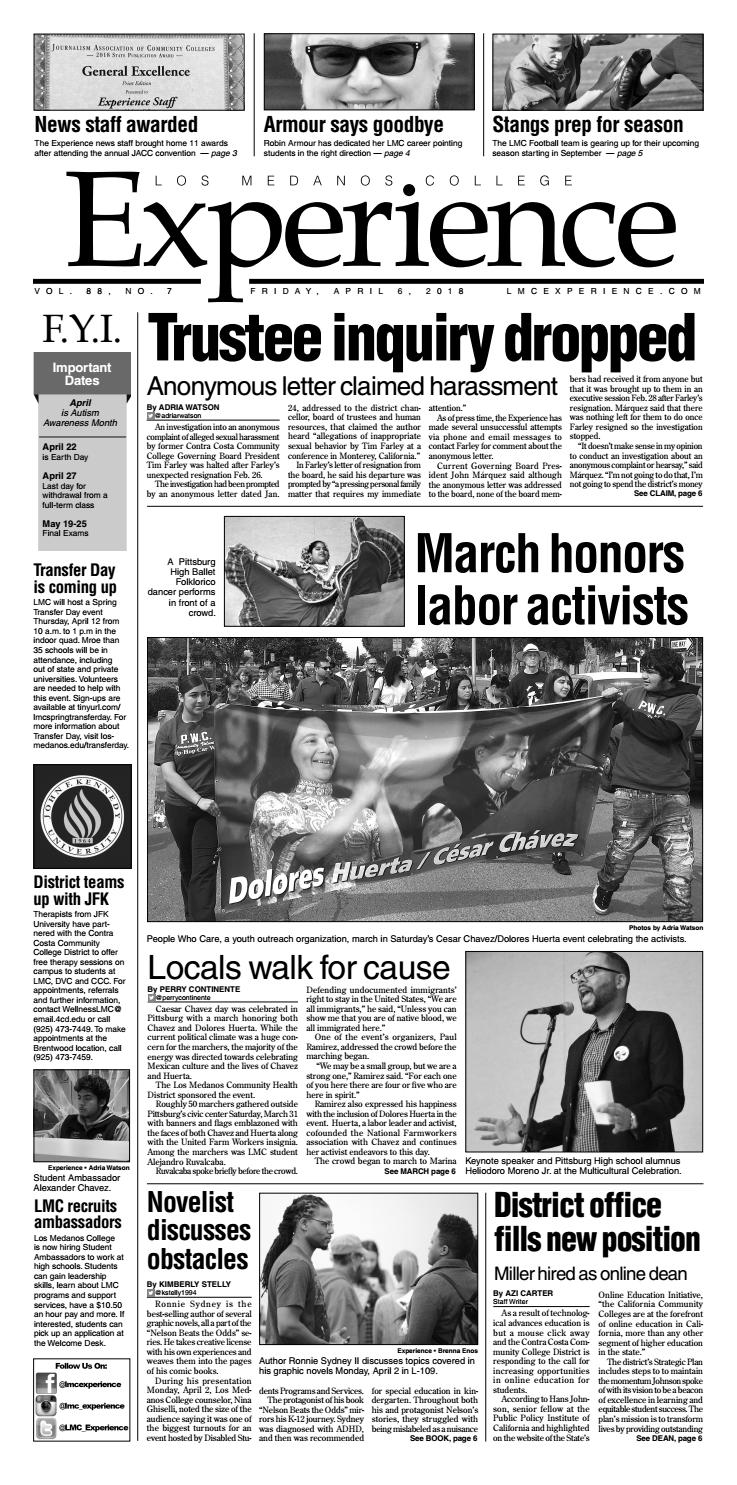 565d5335 Vol. 88 No. 7 - April 6, 2018 by The Experience Los Medanos College - issuu