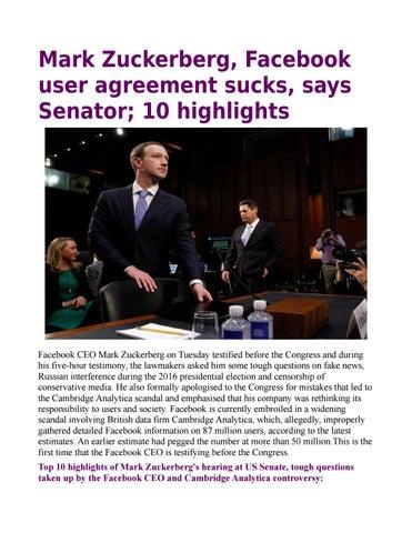 Mark Zuckerberg Facebook User Agreement Sucks Says Senator By