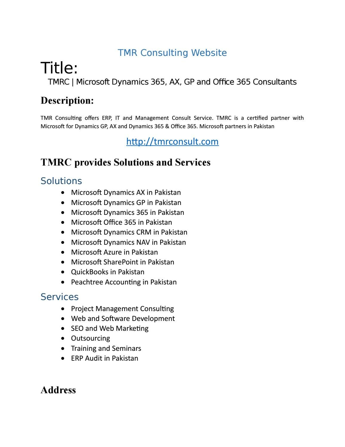 Tmr Consulting By Microsoft Dynamics Ax In Pakistan Tmrc Issuu