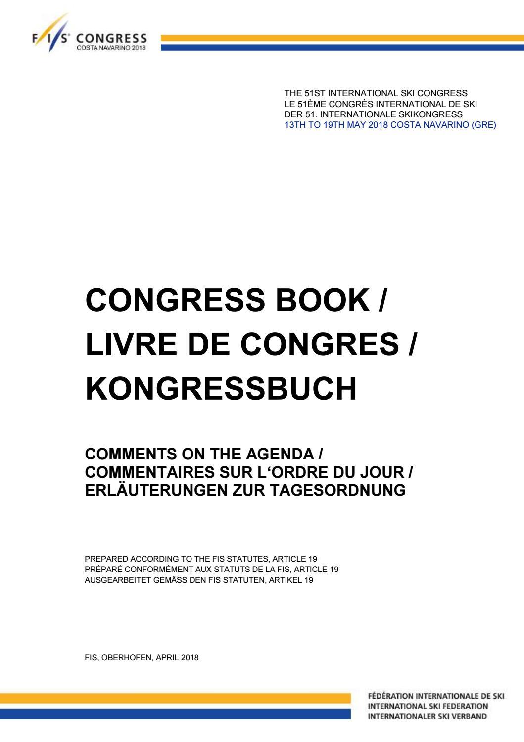 51st FIS Congress, Costa Navarino - Congress Book by FIS - issuu