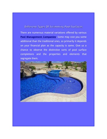 Different Types Of Swimming Pool Surfaces By Usa Management Issuu