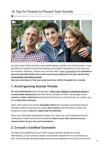 Parents Can Learn How To Prevent >> 10 Tips For Parents To Prevent Teen Suicide By