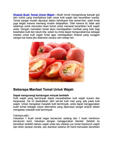 Manfaat Buah Tomat Untuk Wajah By Herbalis Indonesia Issuu