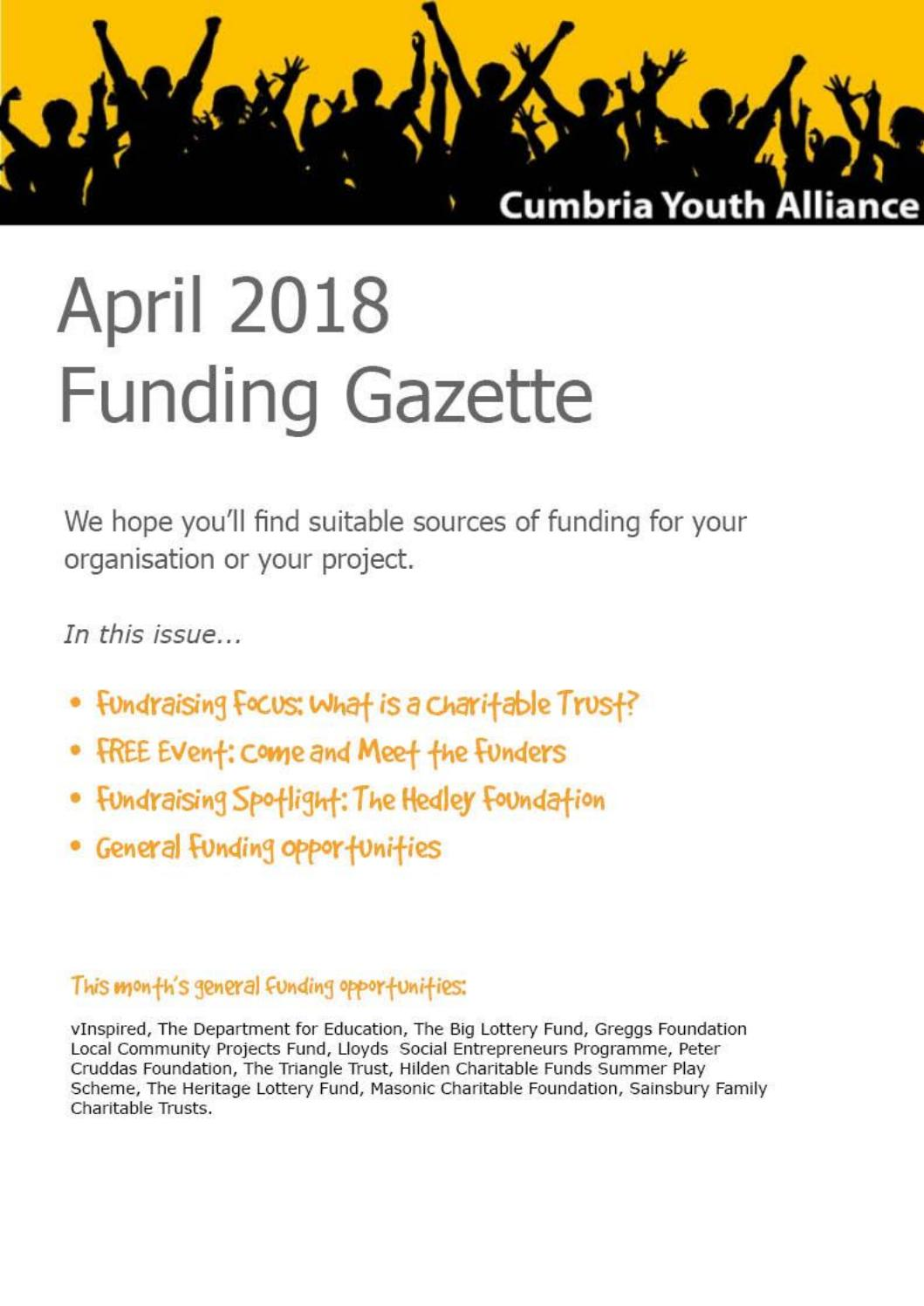 April Funding Gazette from Cumbria Youth Alliance by ...