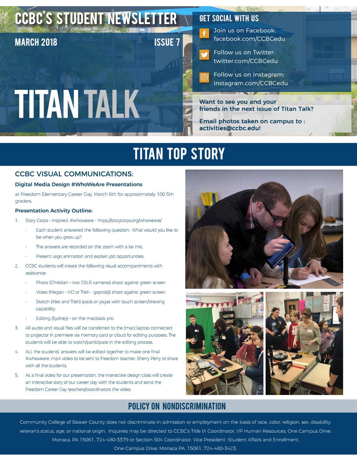 Titan Talk - April 2018 by Community College of Beaver