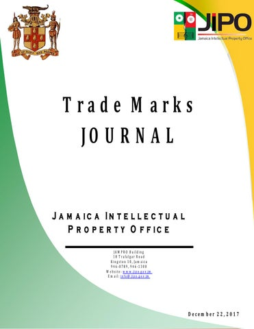 December 2017 TM Journal by Jamaica Intellectual Property