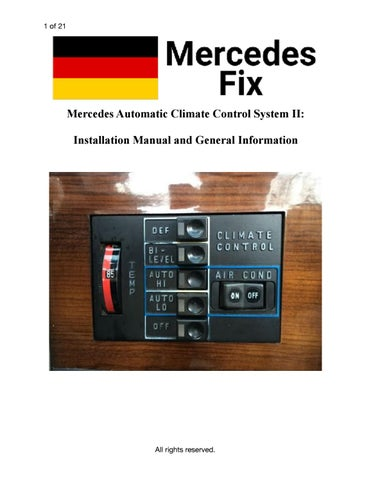 ACCII Climate Control Upgrade Kit: Installation instructions by