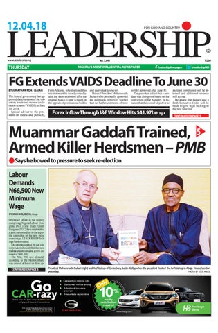Leadership epaper 12th april 2018 by Leadership Newspapers Nigeria