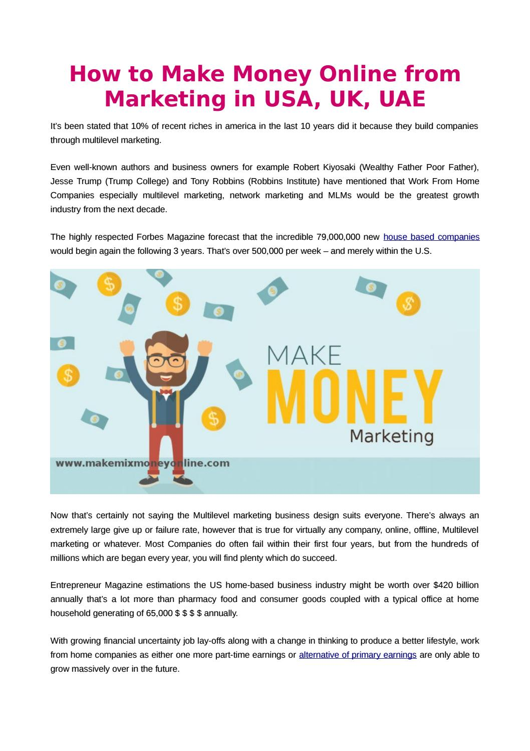 How to make money online from marketing in usa, uk, uae by