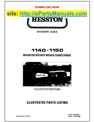 Hesston 1140 1150 parts manual for mounted rotary mover by