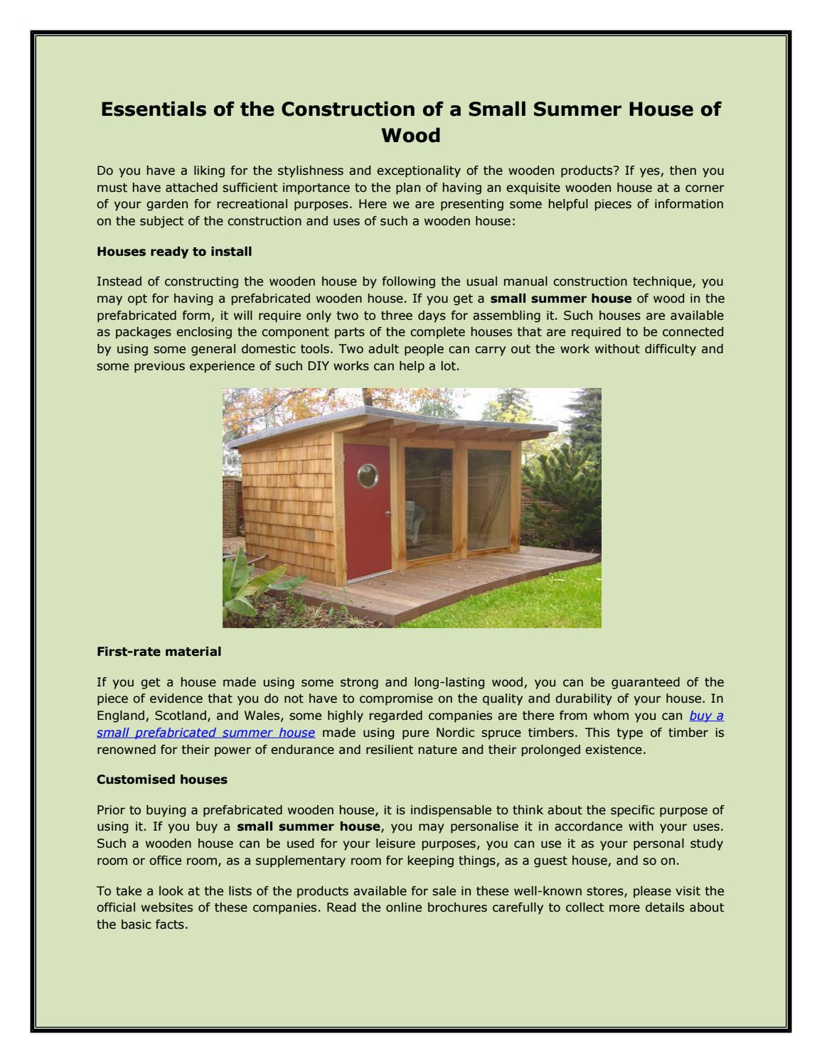 Essentials Of The Construction Of A Small Summer House Of Wood By