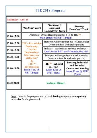 TIE 2018 Program Wednesday April 18 \u201cStudents\u201d Track 13:00-15:00 15:00-15:30 15:30-17:30 17:30-18:00