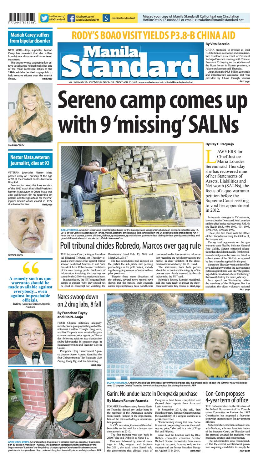 48f0788626372 Manila Standard - 2018 April 13 - Friday by Manila Standard - issuu