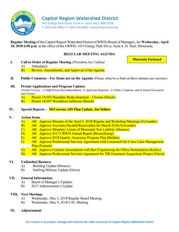 April 18, 2018 board meeting packet by Capitol Region Watershed