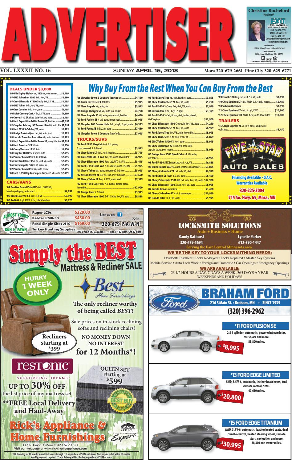 Mora Advertiser 41518 By Kanabec County Times Pine City Pioneer Issuu 1999 Chevy Tahoe Codeheatercircuit Malfunctionintermittent