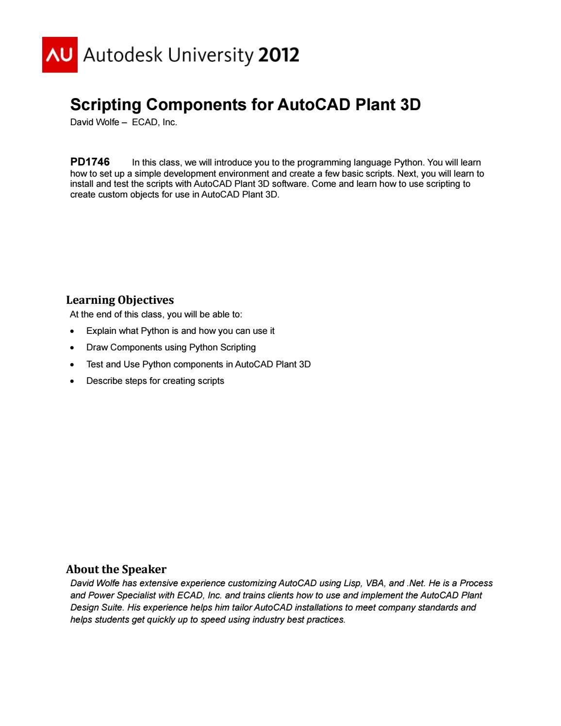 Handout 1746 pd1746 scripting components for autocad plant