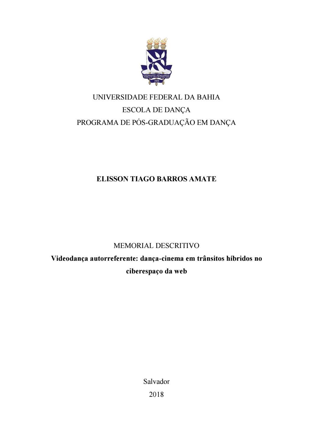 Memorial descritivo Videodança autorreferente by Tiago Amate   issuu