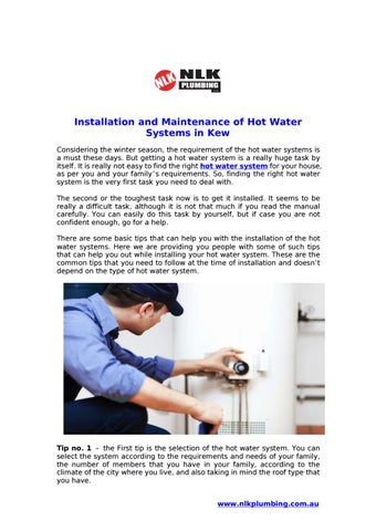 Installation and maintenance of hot water systems in kew by ...