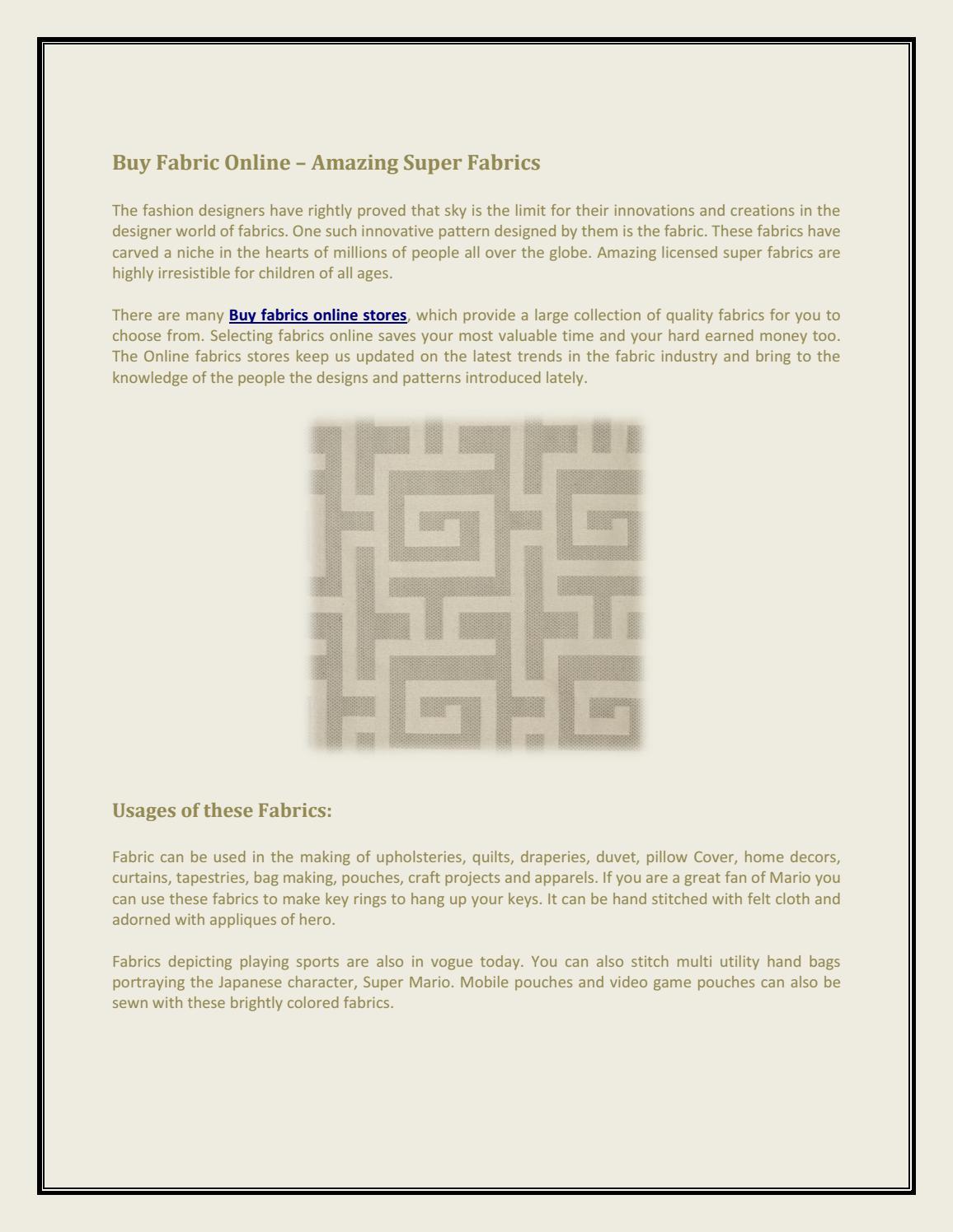 Buy Fabric Online – Amazing Super Fabrics by indigo2fabrics