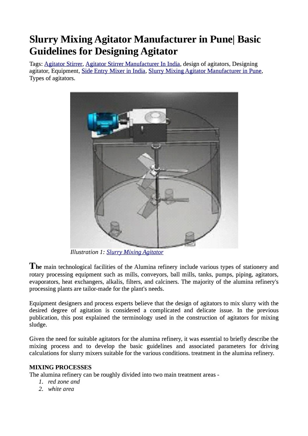 Basic guidelines for design of slurry mixing agitators by