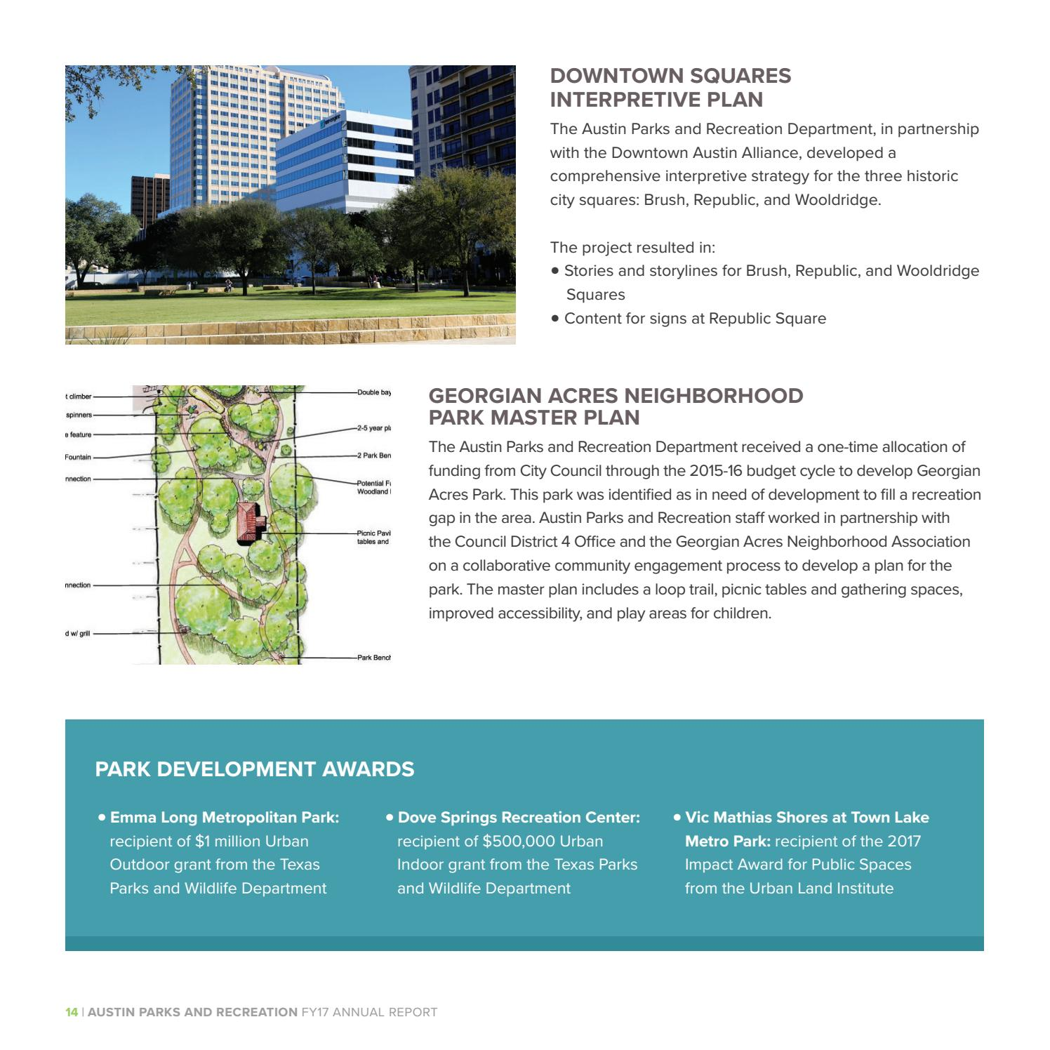 Austin Parks and Recreation Department FY17 Annual Report by