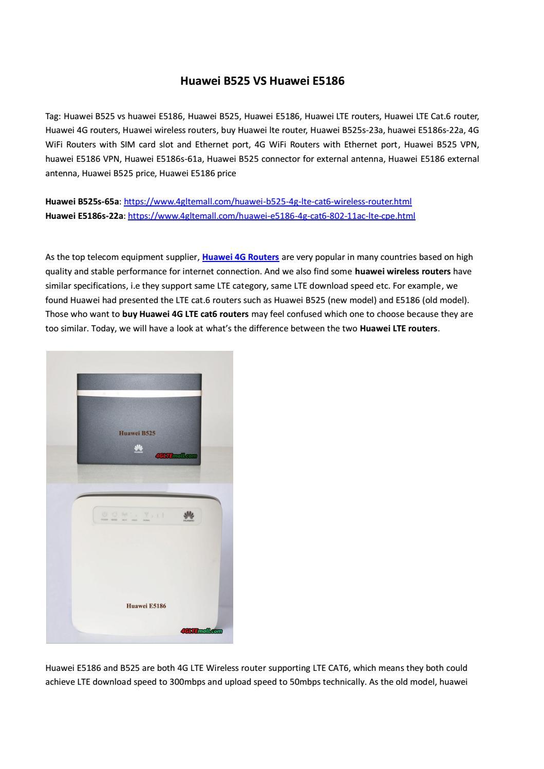Huawei B525 VS Huawei E5186 by Lte Mall - issuu