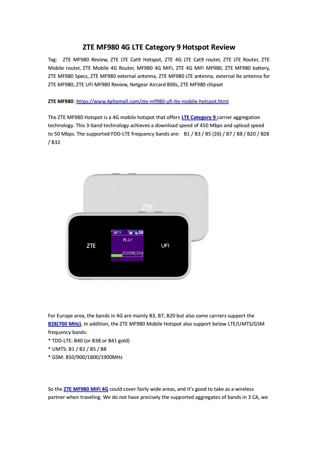 ZTE MF980 4G LTE Category 9 Hotspot Review by Lte Mall - issuu