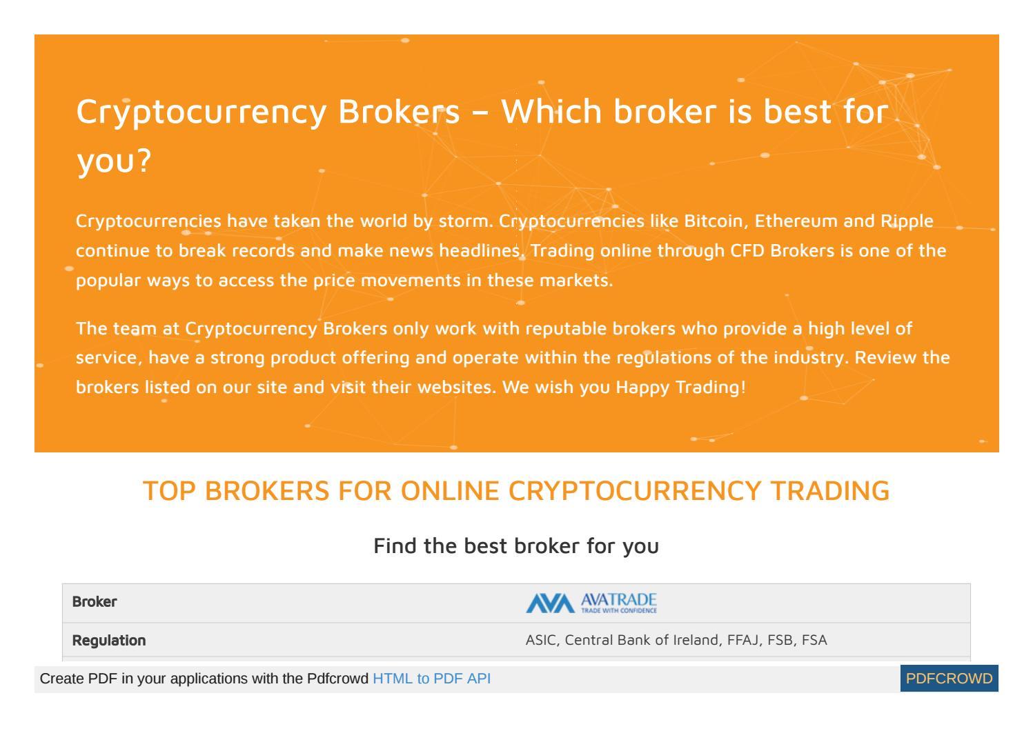 best online broker for cryptocurrency