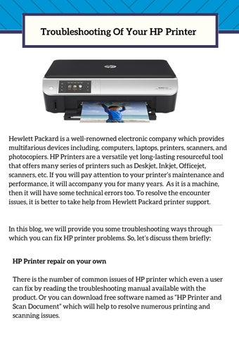 Troubleshooting of Your HP Printer by HP Printer Technical