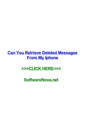 Can you retrieve deleted messages from my iphone by