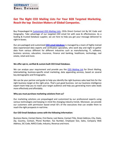Gml artiGet The Right CEO Mailing Lists For Your B2B Targeted
