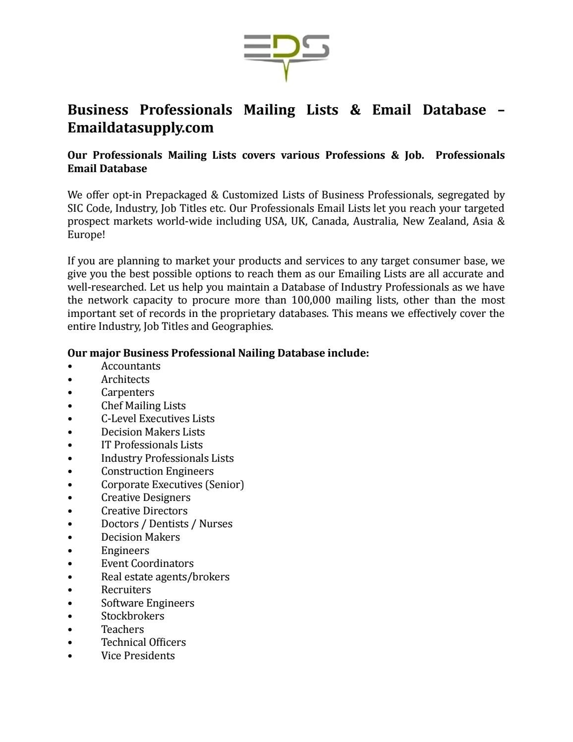 Business Professionals Mailing Lists & Email Database