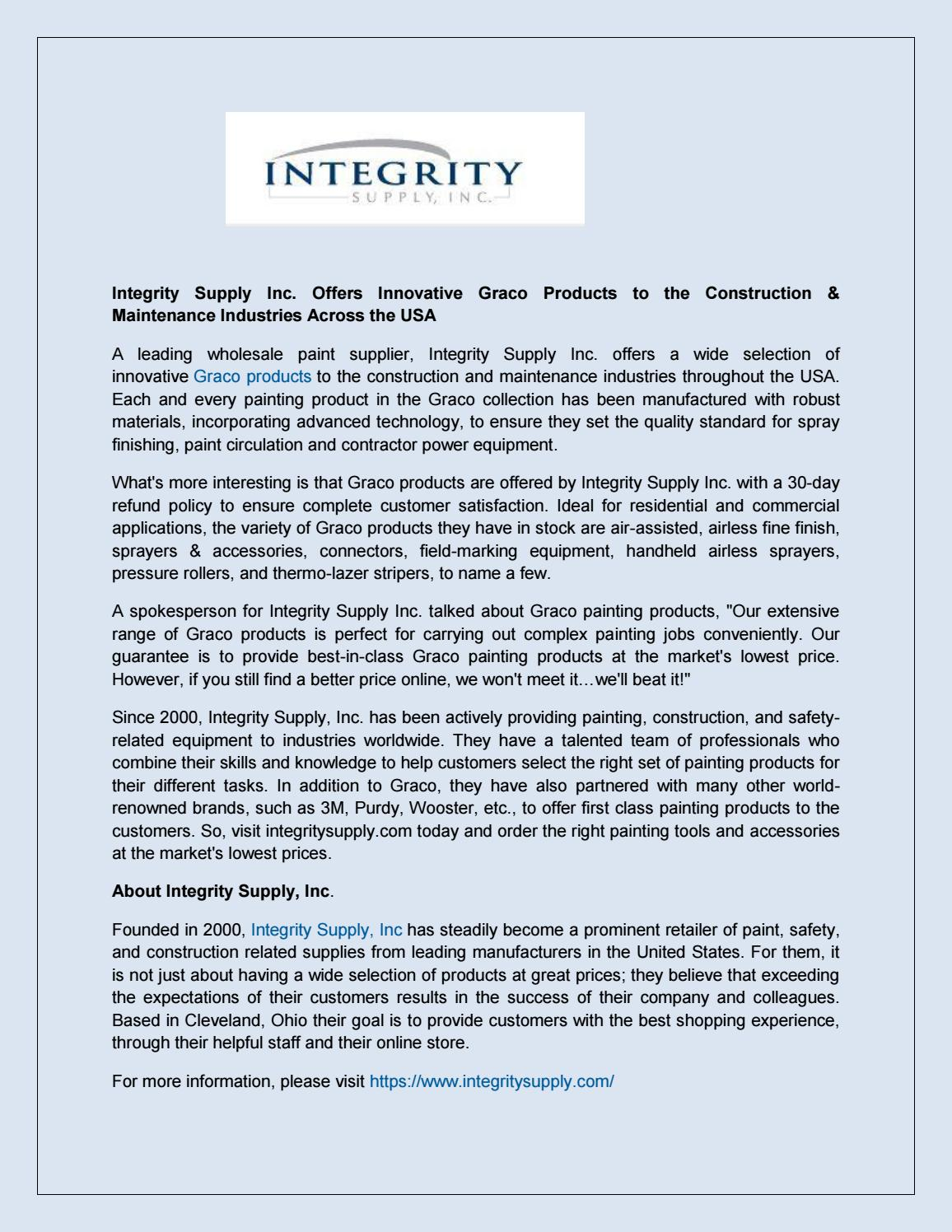 Integrity Supply Inc Offers Innovative Graco Products To The Roller Set Beat Lama Construction Maintenance Industries A By Integritysupply Issuu