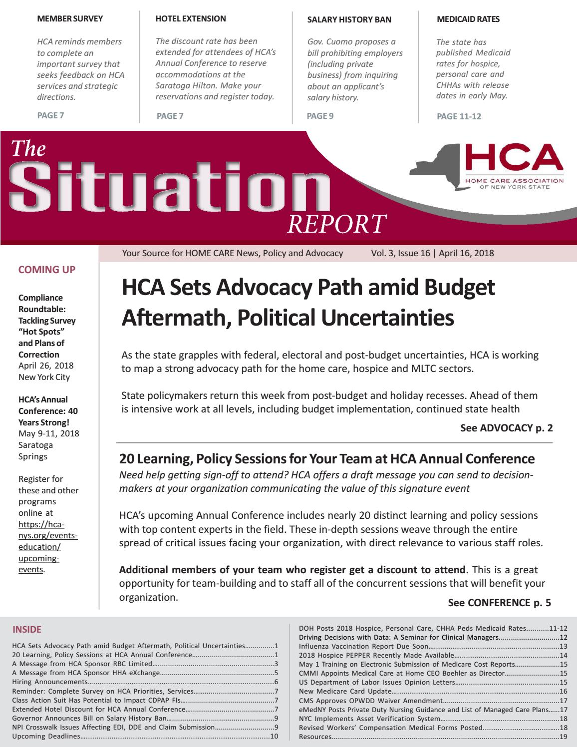 April 16, 2018 Edition of The Situation Report by Home Care
