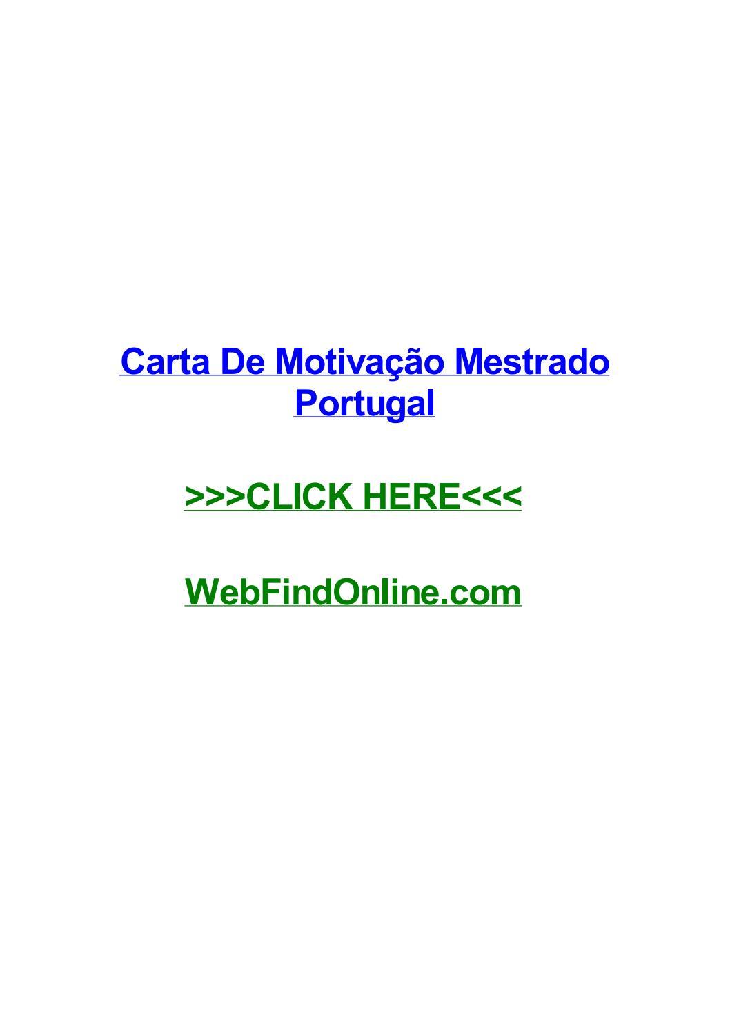Carta De Motivaг гјo Mestrado Portugal By Davidnaybq Issuu