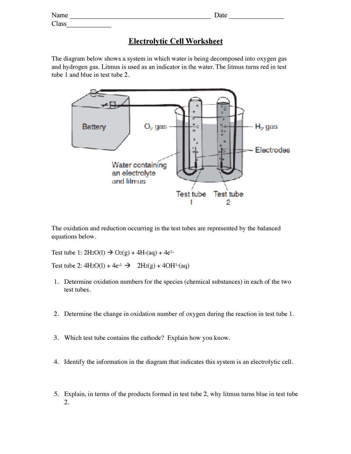 Electrolytic Cell Worksheet By Olivia Hunter Issuu