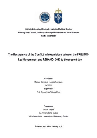 The Resurgence of the Conflict in Mozambique between the FRELIMO-Led  Government and RENAMO  2012 to 07ebe4872a4