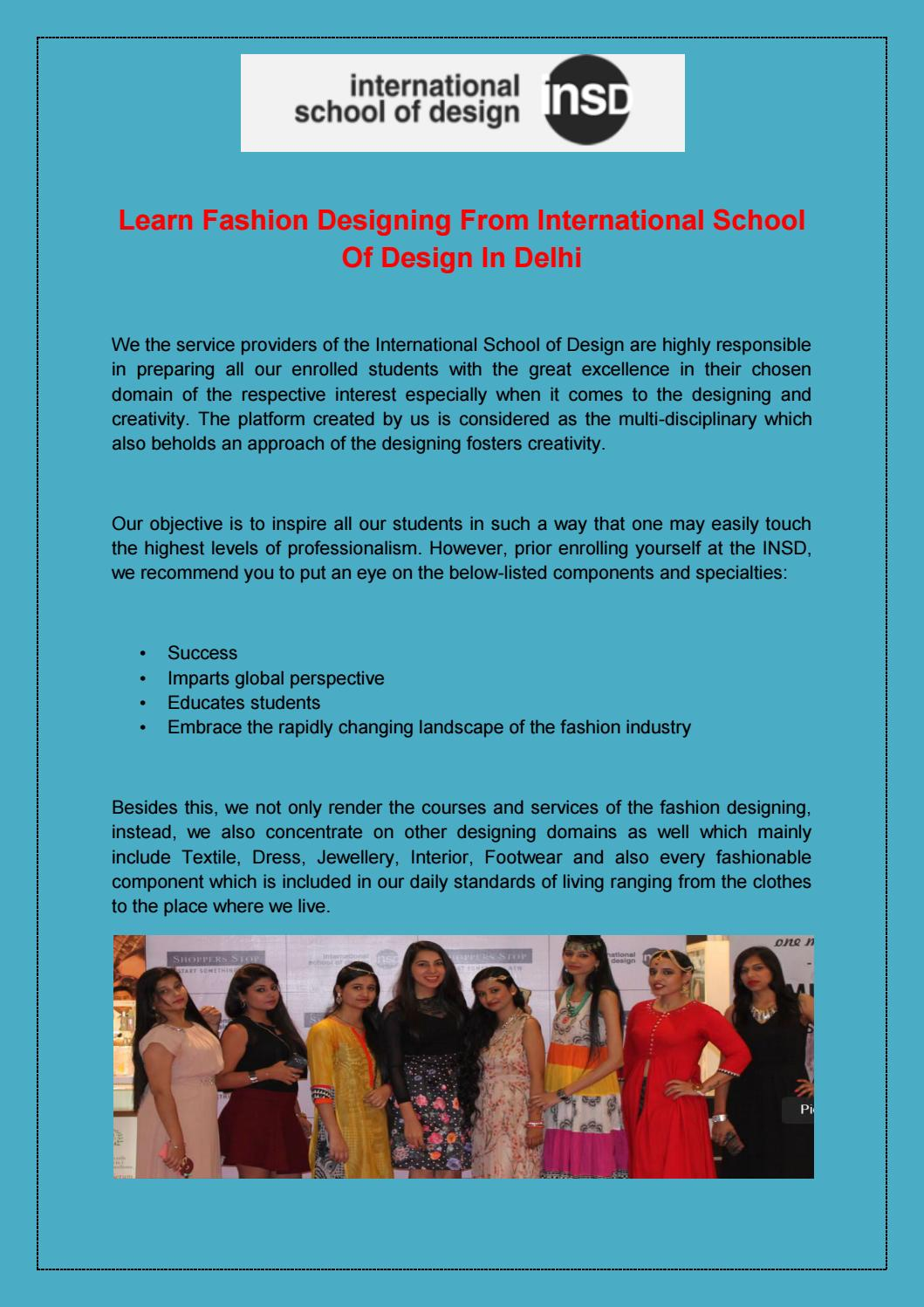 Learn Fashion Designing From International School Of Design In Delhi By Insd Paschim Vihar Issuu