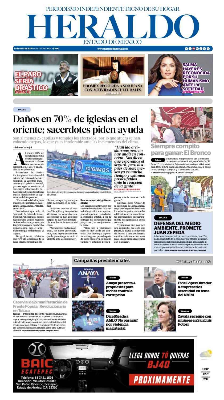 37ef6d82d8 Martes 17 de abril 2018 by Heraldo Estado de México - issuu