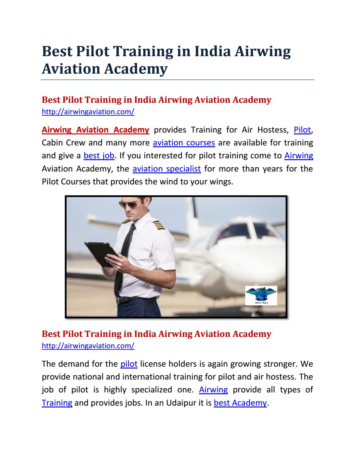 Best Pilot Training in India Airwing Aviation Academy by Nitika