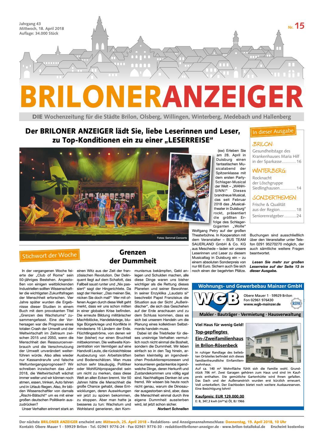 Briloner Anzeiger Ausgabe vom 18.04.2018 Nr.15 by Brilon-totallokal - issuu