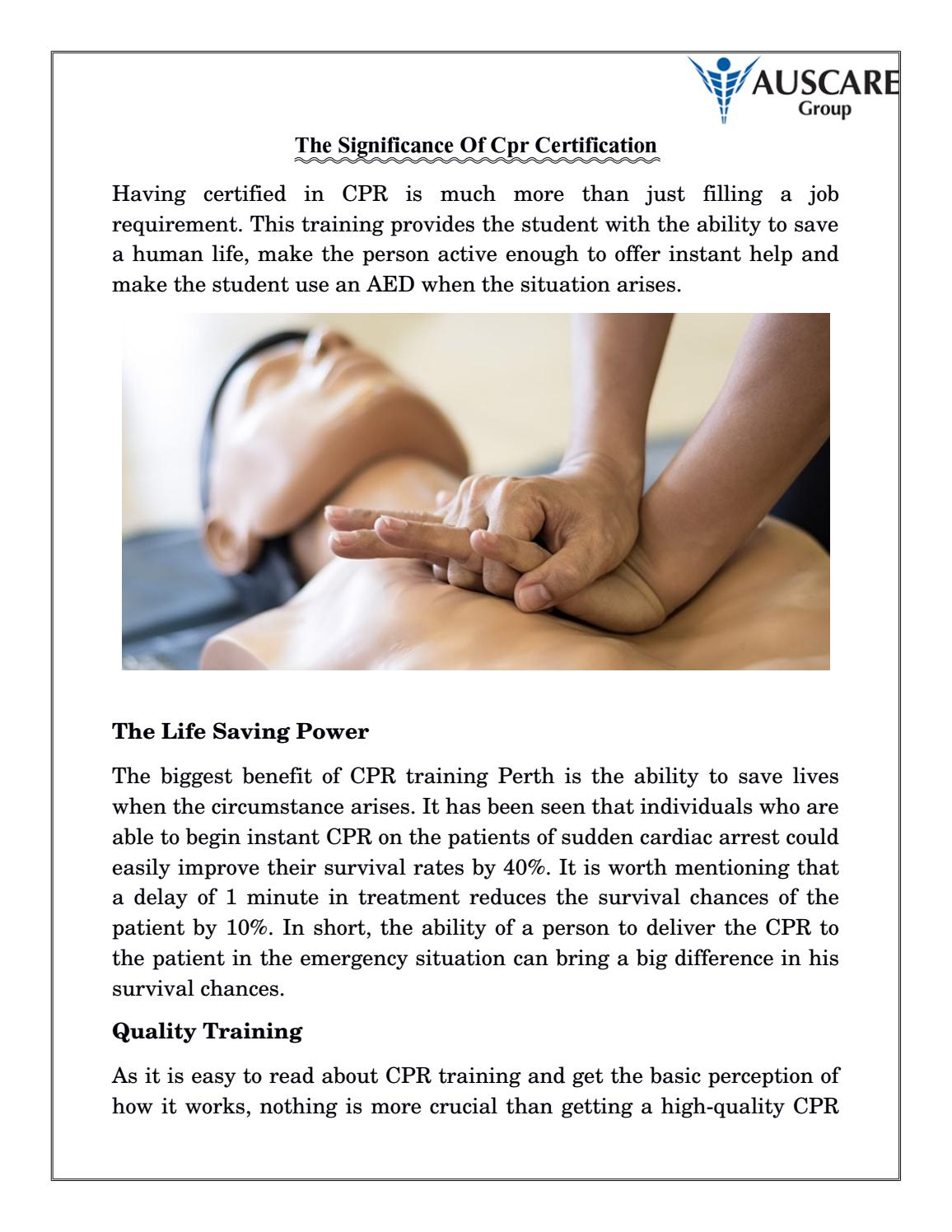 The Significance Of Cpr Certification By Auscare Group Issuu