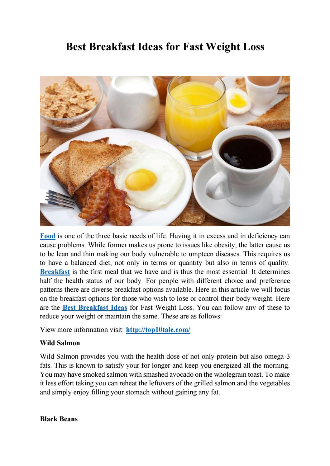 Best Breakfast Ideas For Fast Weight Loss By Top10 Tale Issuu
