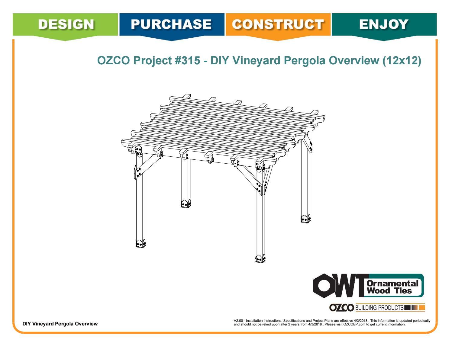 OZCO Project Arbor / Pergola Shade Patio Structure #315 by