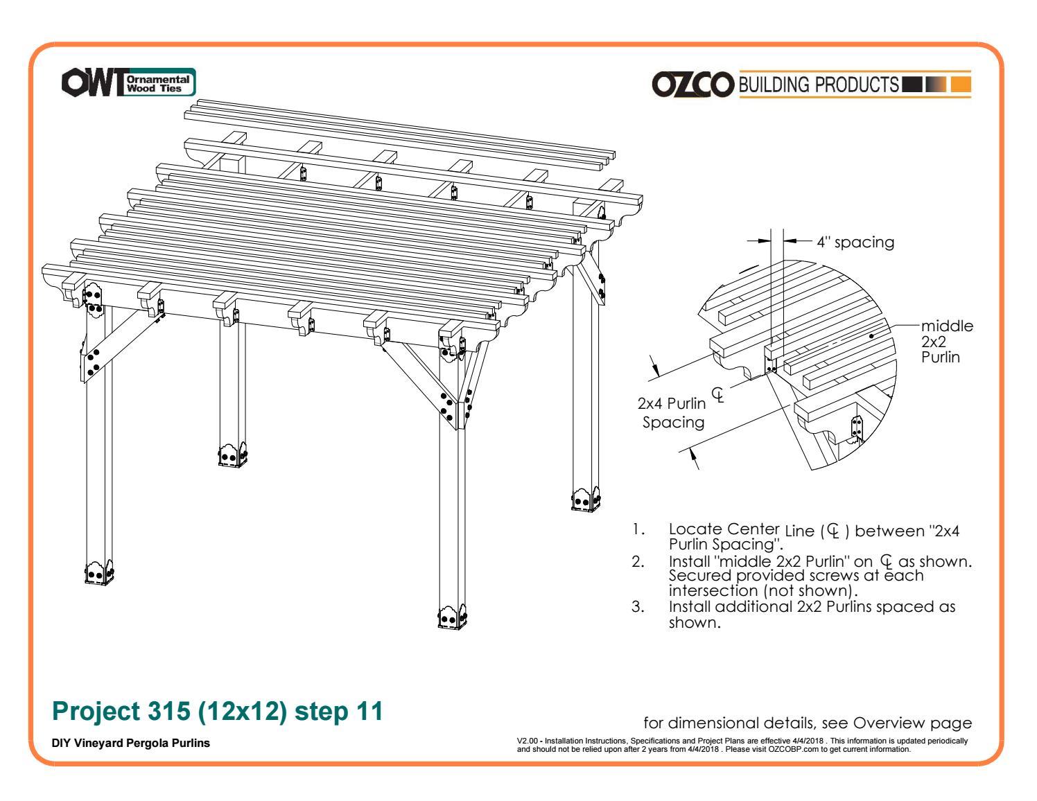 OZCO Project Arbor / Pergola Shade Patio Structure #315 by OZCO